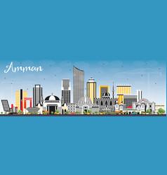 Amman jordan skyline with color buildings vector