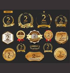 anniversary golden laurel wreath vector image