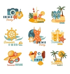 Beach And Summer Labels Set vector