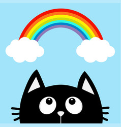 Black cat looking up to cloud and rainbow cute vector