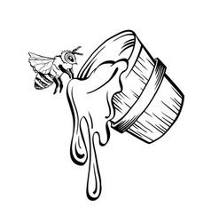 Black outline sketch of honey bucket and vector