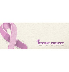 Breast cancer banner with support text and ribbon vector