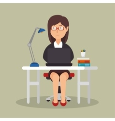 businesswoman working avatar icon vector image