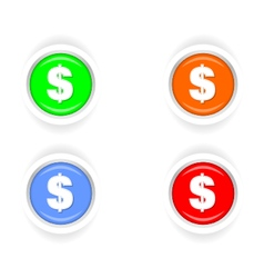 Button set circle icons money vector