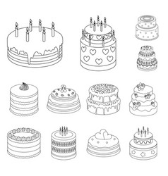 Cake and dessert outline icons in set collection vector
