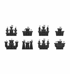 castles and fortresses icons set vector image