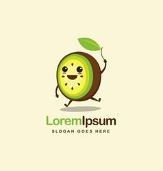cheerful jumping kiwi fruit cartoon logo icon vector image