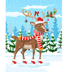 Christmas background with cute deer vector