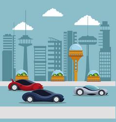 Colorful scene futuristic city metropolis with vector