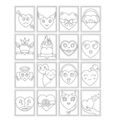 Cool hearts coloring page vector