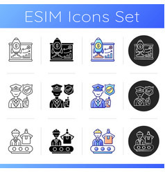 corporation hierarchy icons set vector image