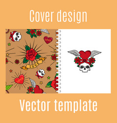 cover design with vintage tattoo pattern vector image