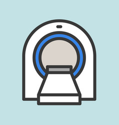 Ct scan filled outline icon hospital set vector