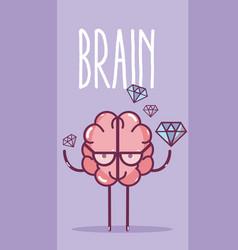 cute brain cartoon card vector image