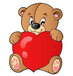 cute teddy bear holding heart vector image