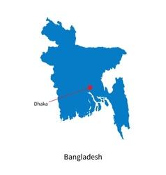 Detailed map bangladesh and capital city dhaka vector
