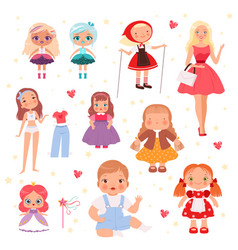 dolls toys cute playing model for kids joyful vector image