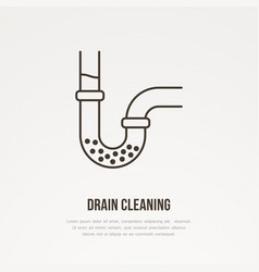 Drain cleaning flat line icon outline sign of vector