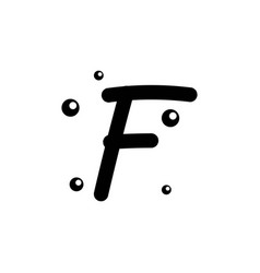 F hand drawn alphabet design template vector