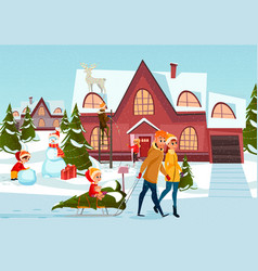 father mother and kid walking by christmas town vector image