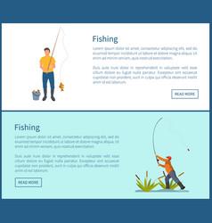 Fishing activities of men set vector