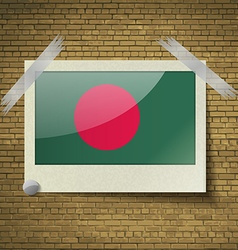 Flags Bangladesh at frame on a brick background vector image