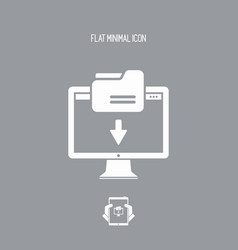 folder download - flat minimal icon vector image
