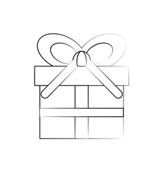 gift box whit banner bow vector image