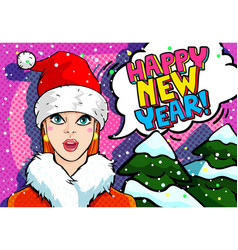 girl in red hat santa claus vector image