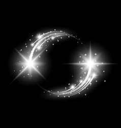 Glittering star dust circle of lights white color vector