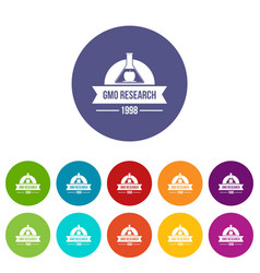 gmo research badge icons set color vector image
