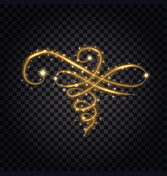 Gold flourish with light glowing effect design vector