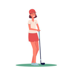 golfer woman holding a golf club and smiling vector image