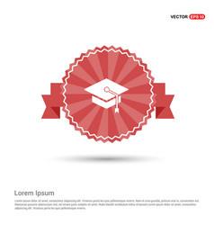 graduation cap icon - red ribbon banner vector image