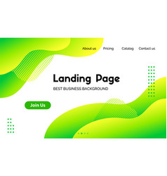 Green liquid landing page template vector