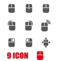 grey computer mouse icon set vector image