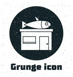 Grunge seafood store icon isolated on white vector