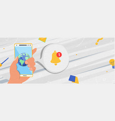 hand holding phone with world app notification vector image