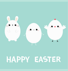 happy easter bunny head face chicken bird egg vector image