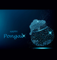 happy pongal greeting card with polygonal pot vector image