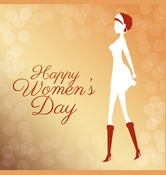 Happy womens day poster elegant girl bubbles vector