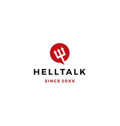 Hell talk pitchfork devil logo icon vector