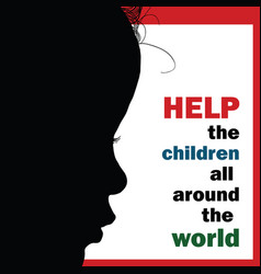 help children around the world silhouette vector image