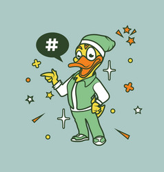 hipster duck cartoon t shirt design vector image
