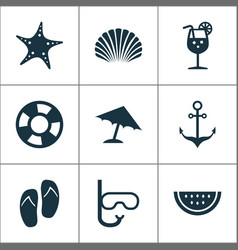 Hot icons set collection of melon parasol star vector