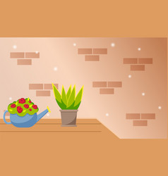 house evergreen plant in pot and red flowers in vector image