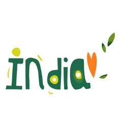 India country name lettering comic typescript vector