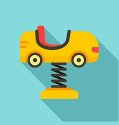 Kid car on spring icon flat style vector
