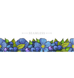 Leaves and flowers seamless border frame vector