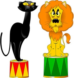 Lion and a panther on a pedestal vector